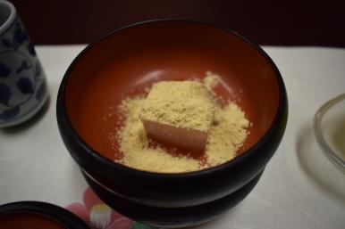 bracken-starch jelly and a kudzu starch cake (soybean flour).